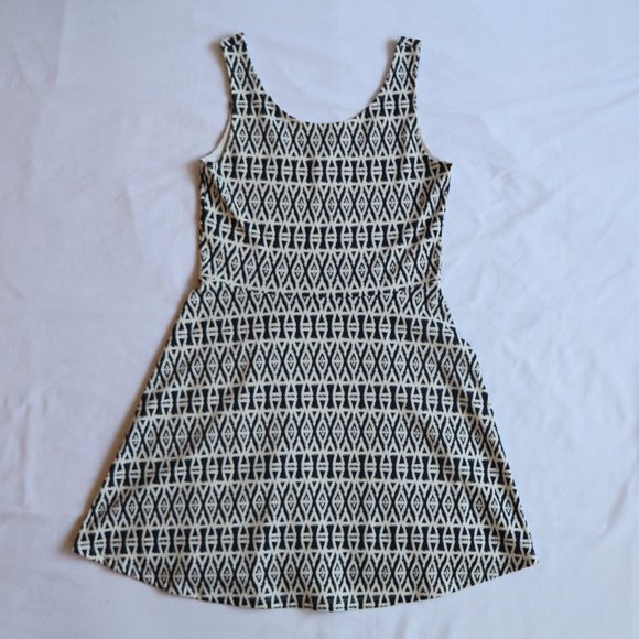 Patterned Navy and White Dress